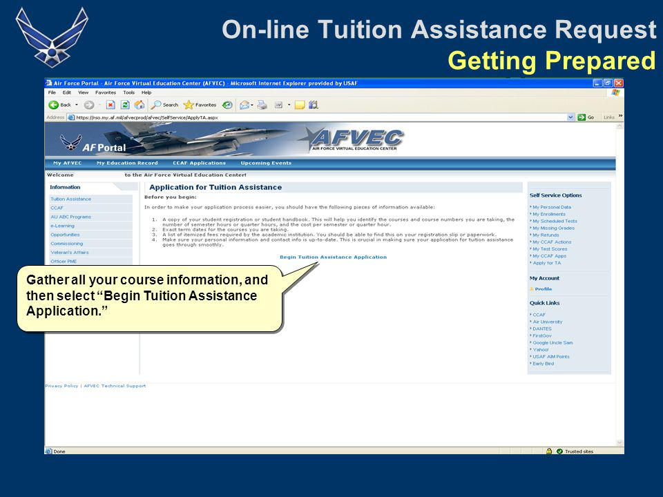 On-line Tuition Assistance Request Step 4: Registration Fees There are no additional fees for Advanced Programs courses.