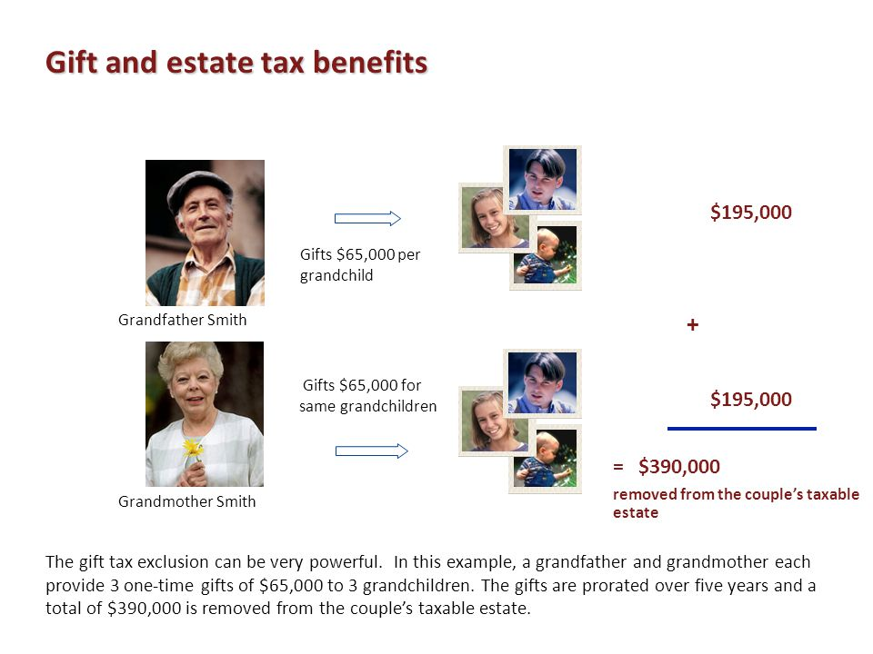 = $390,000 removed from the couple's taxable estate $195,000 + $195,000 The gift tax exclusion can be very powerful. In this example, a grandfather an