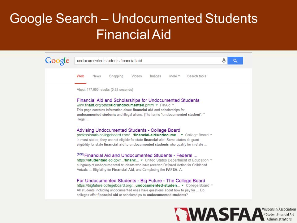 Google Search – Undocumented Students Financial Aid