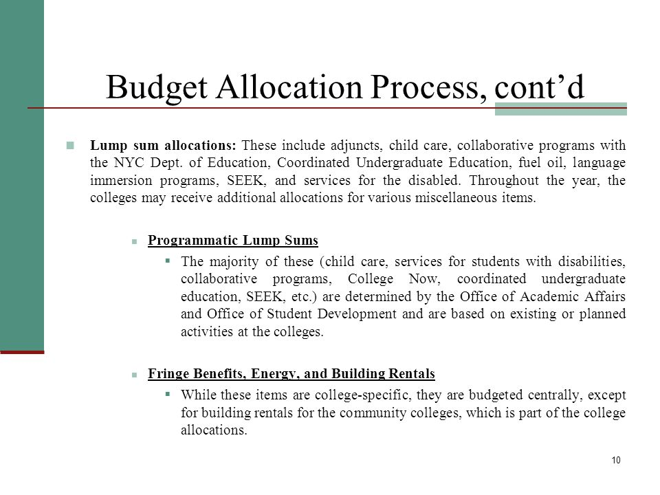 10 Budget Allocation Process, cont'd Lump sum allocations: These include adjuncts, child care, collaborative programs with the NYC Dept. of Education,