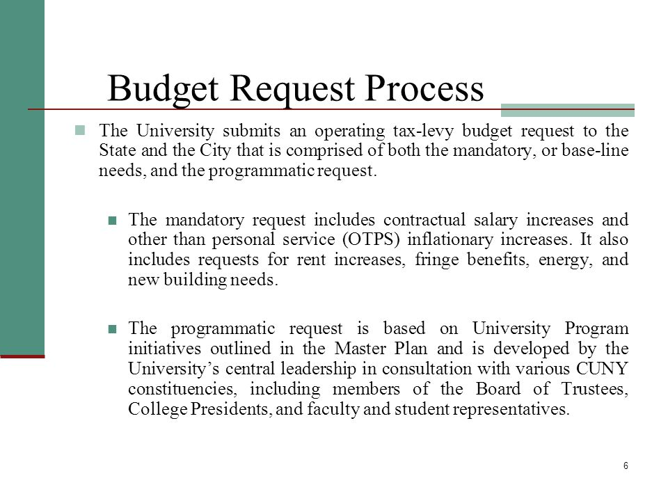6 Budget Request Process The University submits an operating tax-levy budget request to the State and the City that is comprised of both the mandatory