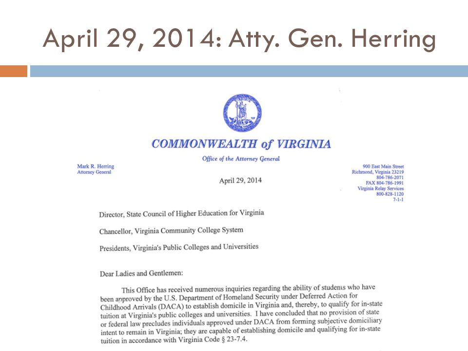 April 29, 2014: Atty. Gen. Herring