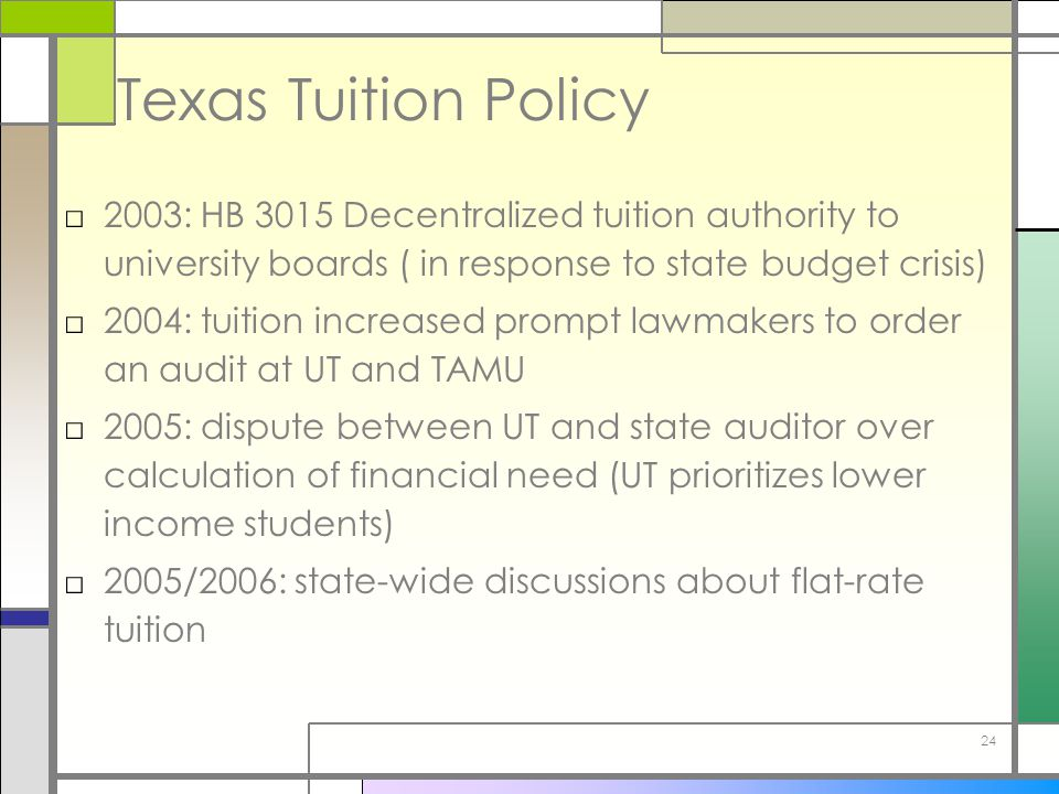 24 Texas Tuition Policy □2003: HB 3015 Decentralized tuition authority to university boards ( in response to state budget crisis) □2004: tuition increased prompt lawmakers to order an audit at UT and TAMU □2005: dispute between UT and state auditor over calculation of financial need (UT prioritizes lower income students) □2005/2006: state-wide discussions about flat-rate tuition
