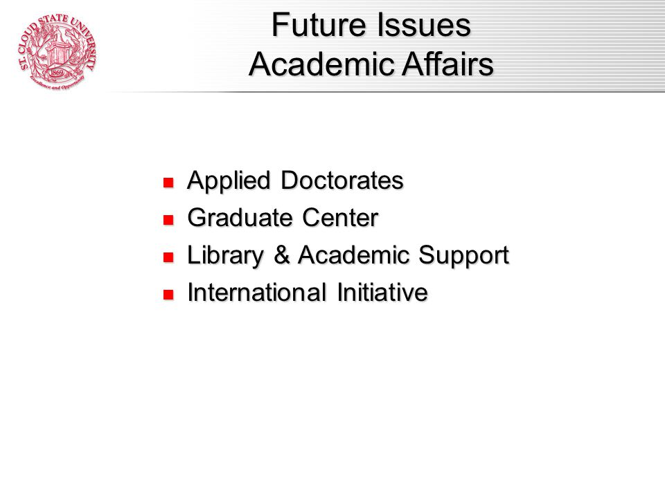 Applied Doctorates Applied Doctorates Graduate Center Graduate Center Library & Academic Support Library & Academic Support International Initiative International Initiative Future Issues Academic Affairs