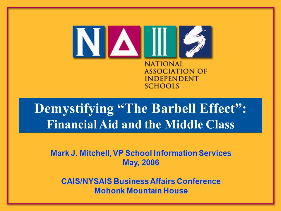 "Demystifying ""The Barbell Effect"": Financial Aid and the Middle Class Mark J. Mitchell, VP School Information Services May, 2006 CAIS/NYSAIS Business"