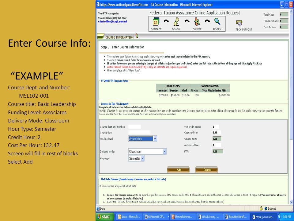 Enter Course Info: EXAMPLE Course Dept.