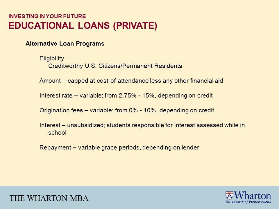 THE WHARTON MBA INVESTING IN YOUR FUTURE EDUCATIONAL LOANS (PRIVATE) Alternative Loan Programs Eligibility Creditworthy U.S.