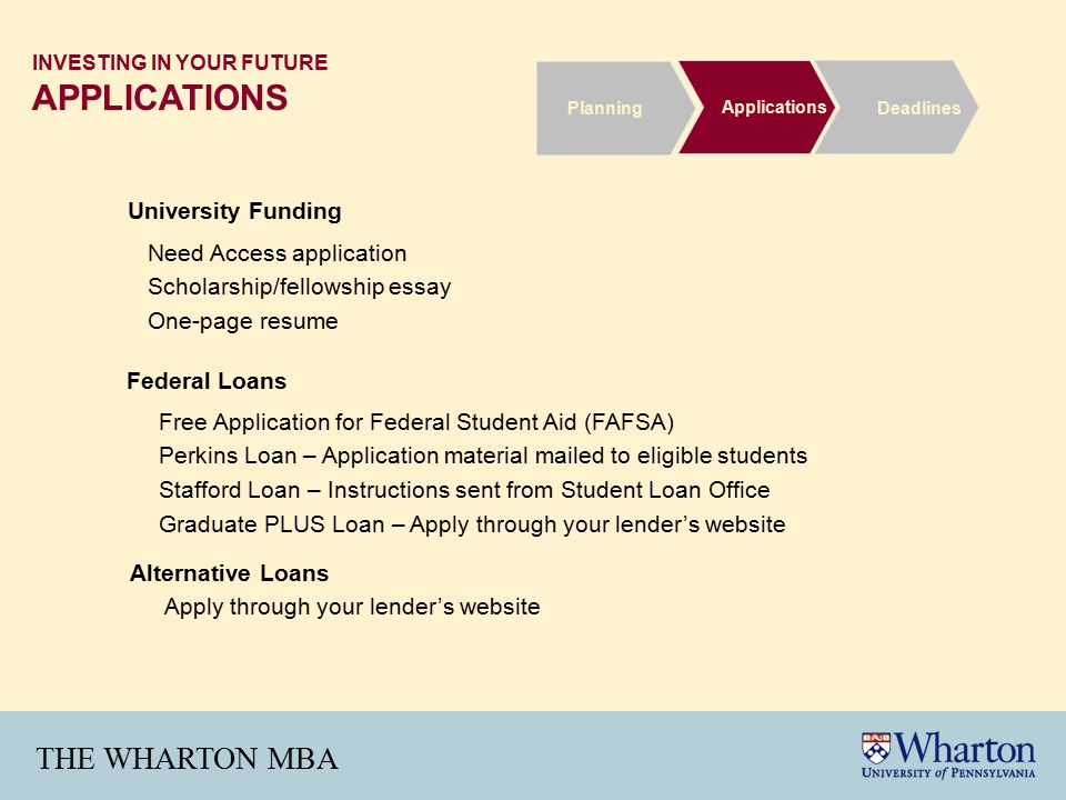THE WHARTON MBA INVESTING IN YOUR FUTURE APPLICATIONS Free Application for Federal Student Aid (FAFSA) Perkins Loan – Application material mailed to eligible students Stafford Loan – Instructions sent from Student Loan Office Graduate PLUS Loan – Apply through your lender's website Alternative Loans Apply through your lender's website Federal Loans University Funding Need Access application Scholarship/fellowship essay One-page resume Deadlines Applications Planning
