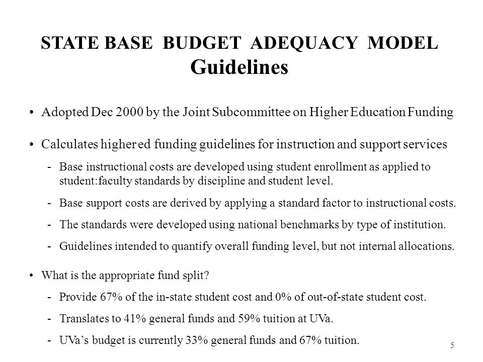 5 STATE BASE BUDGET ADEQUACY MODEL Guidelines Adopted Dec 2000 by the Joint Subcommittee on Higher Education Funding Calculates higher ed funding guidelines for instruction and support services -Base instructional costs are developed using student enrollment as applied to student:faculty standards by discipline and student level.