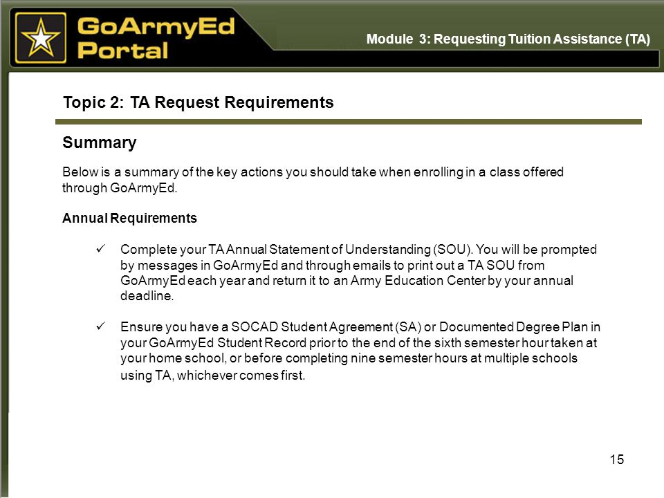 15 Topic 2: TA Request Requirements Summary Below is a summary of the key actions you should take when enrolling in a class offered through GoArmyEd.