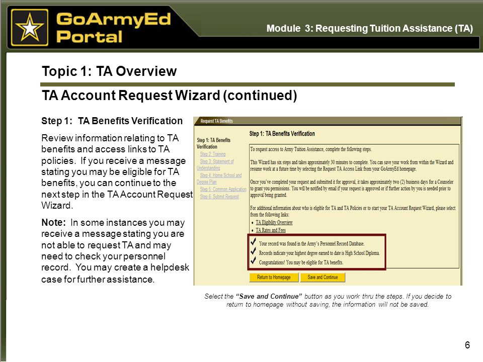 6 Topic 1: TA Overview TA Account Request Wizard (continued) Step 1: TA Benefits Verification Review information relating to TA benefits and access li