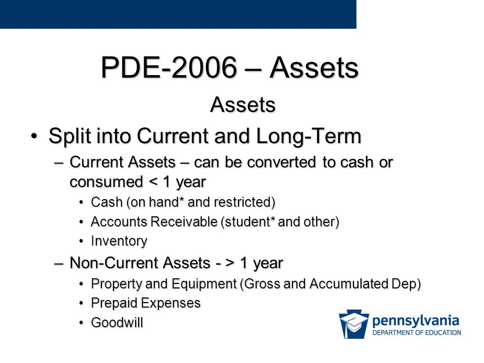 PDE-2006 – Assets Assets Split into Current and Long-TermSplit into Current and Long-Term –Current Assets – can be converted to cash or consumed < 1 year Cash (on hand* and restricted)Cash (on hand* and restricted) Accounts Receivable (student* and other)Accounts Receivable (student* and other) InventoryInventory –Non-Current Assets - > 1 year Property and Equipment (Gross and Accumulated Dep)Property and Equipment (Gross and Accumulated Dep) Prepaid ExpensesPrepaid Expenses GoodwillGoodwill