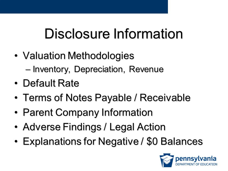 Disclosure Information Valuation MethodologiesValuation Methodologies –Inventory, Depreciation, Revenue Default RateDefault Rate Terms of Notes Payable / ReceivableTerms of Notes Payable / Receivable Parent Company InformationParent Company Information Adverse Findings / Legal ActionAdverse Findings / Legal Action Explanations for Negative / $0 BalancesExplanations for Negative / $0 Balances