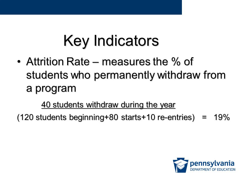 Key Indicators Attrition Rate – measures the % of students who permanently withdraw from a programAttrition Rate – measures the % of students who permanently withdraw from a program 40 students withdraw during the year 40 students withdraw during the year (120 students beginning+80 starts+10 re-entries) = 19%