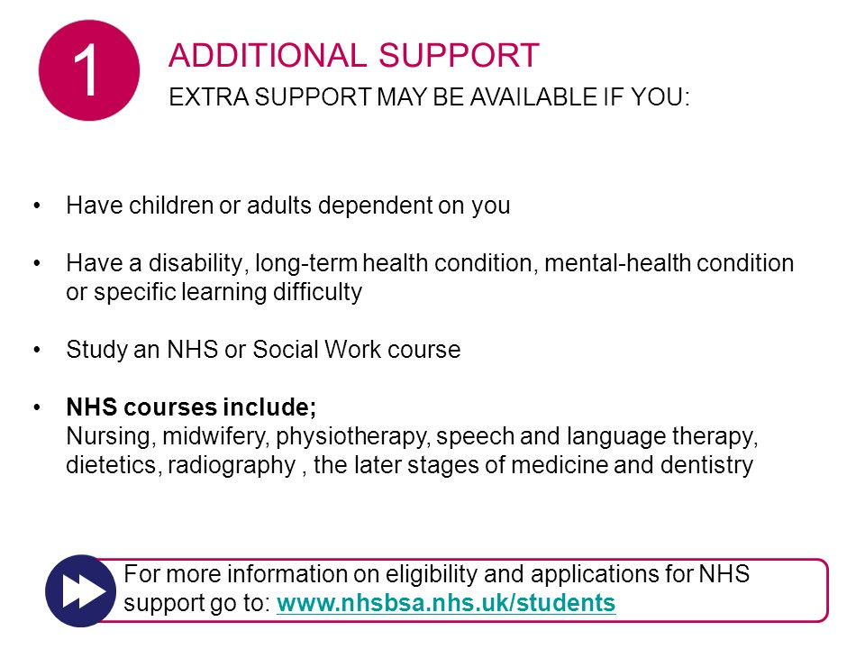 ADDITIONAL SUPPORT Have children or adults dependent on you Have a disability, long-term health condition, mental-health condition or specific learning difficulty Study an NHS or Social Work course NHS courses include; Nursing, midwifery, physiotherapy, speech and language therapy, dietetics, radiography, the later stages of medicine and dentistry ADDITIONAL SUPPORT EXTRA SUPPORT MAY BE AVAILABLE IF YOU: For more information on eligibility and applications for NHS support go to: www.nhsbsa.nhs.uk/studentswww.nhsbsa.nhs.uk/students 1