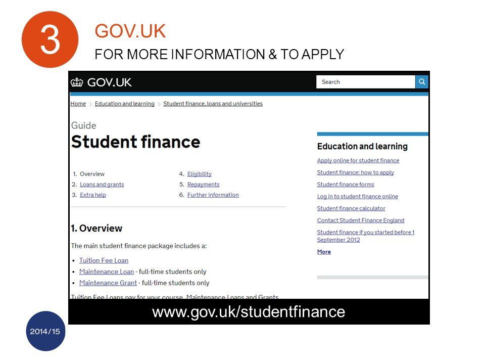 www.gov.uk/studentfinance GOV.UK FOR MORE INFORMATION & TO APPLY 3