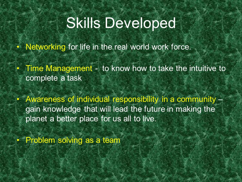 Skills Developed Networking for life in the real world work force.