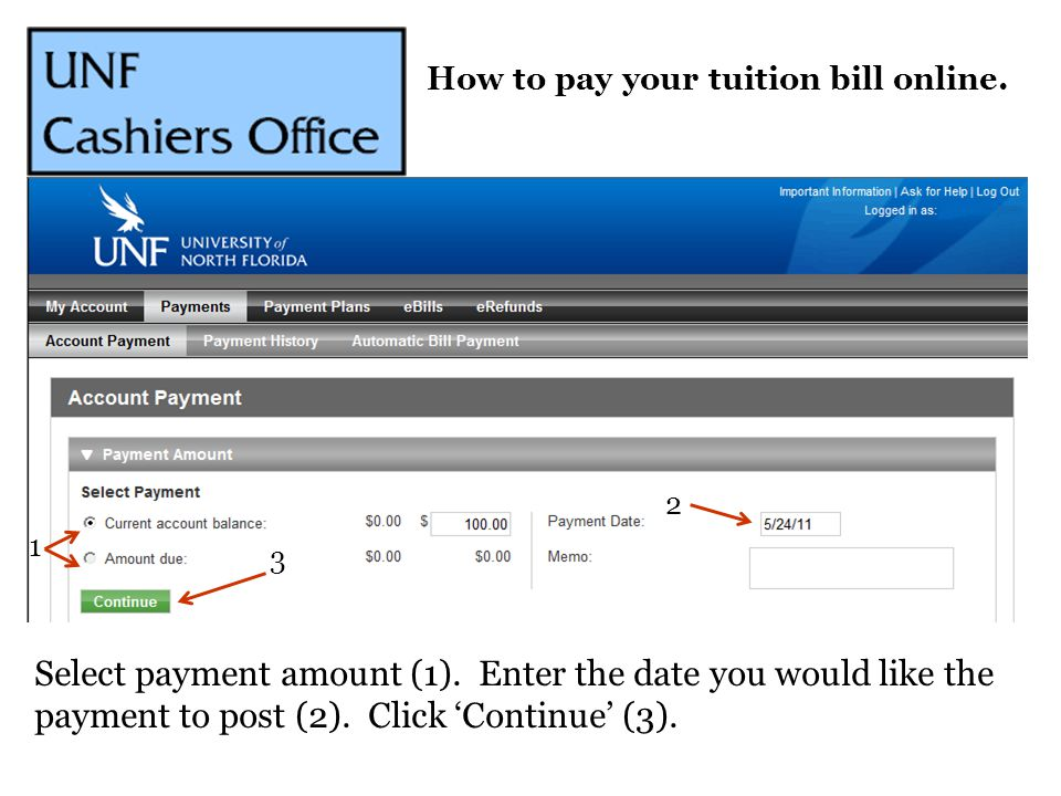 1 2 3 Select payment amount (1). Enter the date you would like the payment to post (2). Click 'Continue' (3).