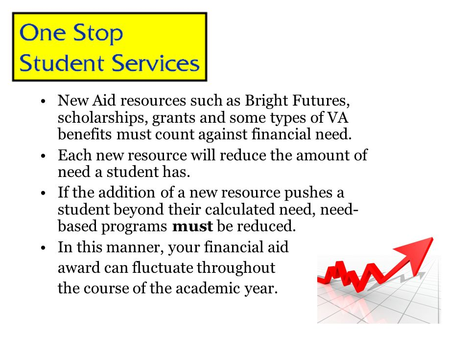 New Aid resources such as Bright Futures, scholarships, grants and some types of VA benefits must count against financial need. Each new resource will