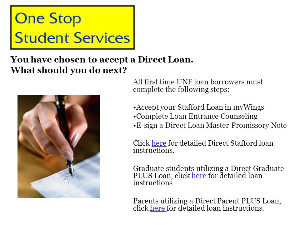 All first time UNF loan borrowers must complete the following steps: Accept your Stafford Loan in myWings Complete Loan Entrance Counseling E-sign a D