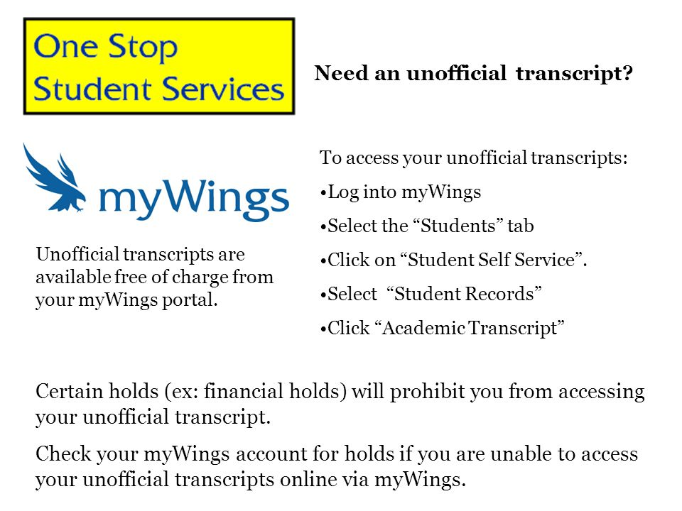 Need an unofficial transcript? Certain holds (ex: financial holds) will prohibit you from accessing your unofficial transcript. Check your myWings acc