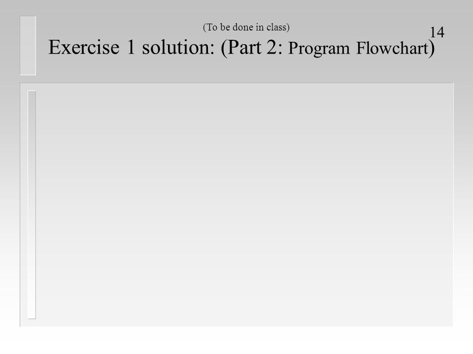 14 Exercise 1 solution: (Part 2: Program Flowchart ) (To be done in class)