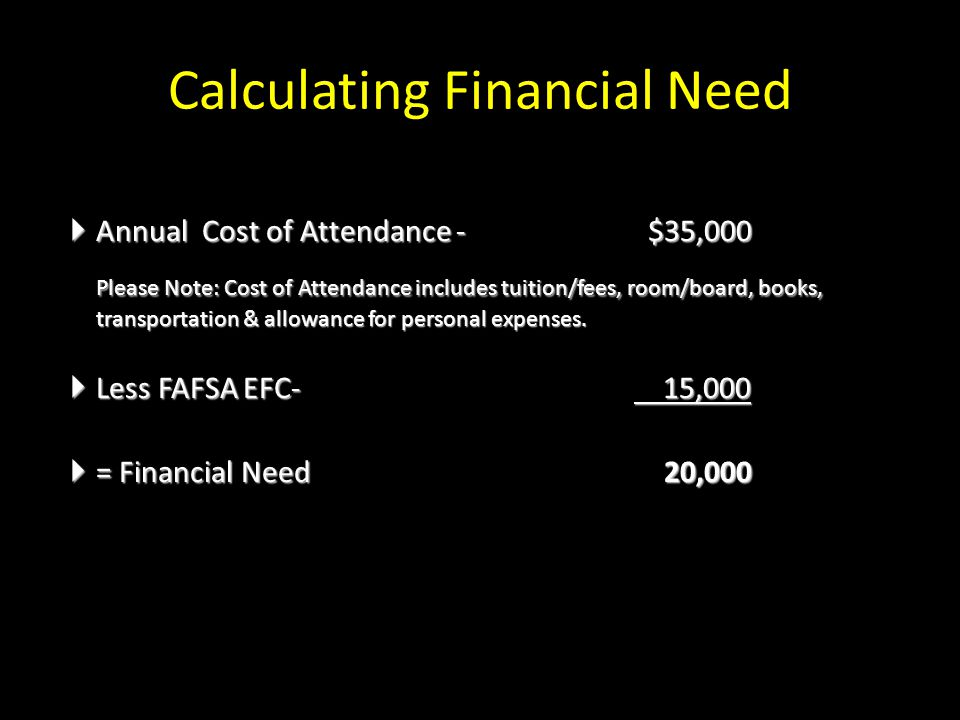 Calculating Financial Need  Annual Cost of Attendance - $35,000 Please Note: Cost of Attendance includes tuition/fees, room/board, books, transportation & allowance for personal expenses.