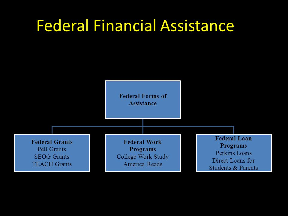 Federal Financial Assistance Federal Forms of Assistance Federal Grants Pell Grants SEOG Grants TEACH Grants Federal Work Programs College Work Study America Reads Federal Loan Programs Perkins Loans Direct Loans for Students & Parents