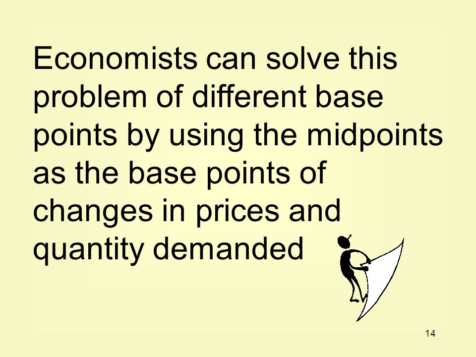 14 Economists can solve this problem of different base points by using the midpoints as the base points of changes in prices and quantity demanded