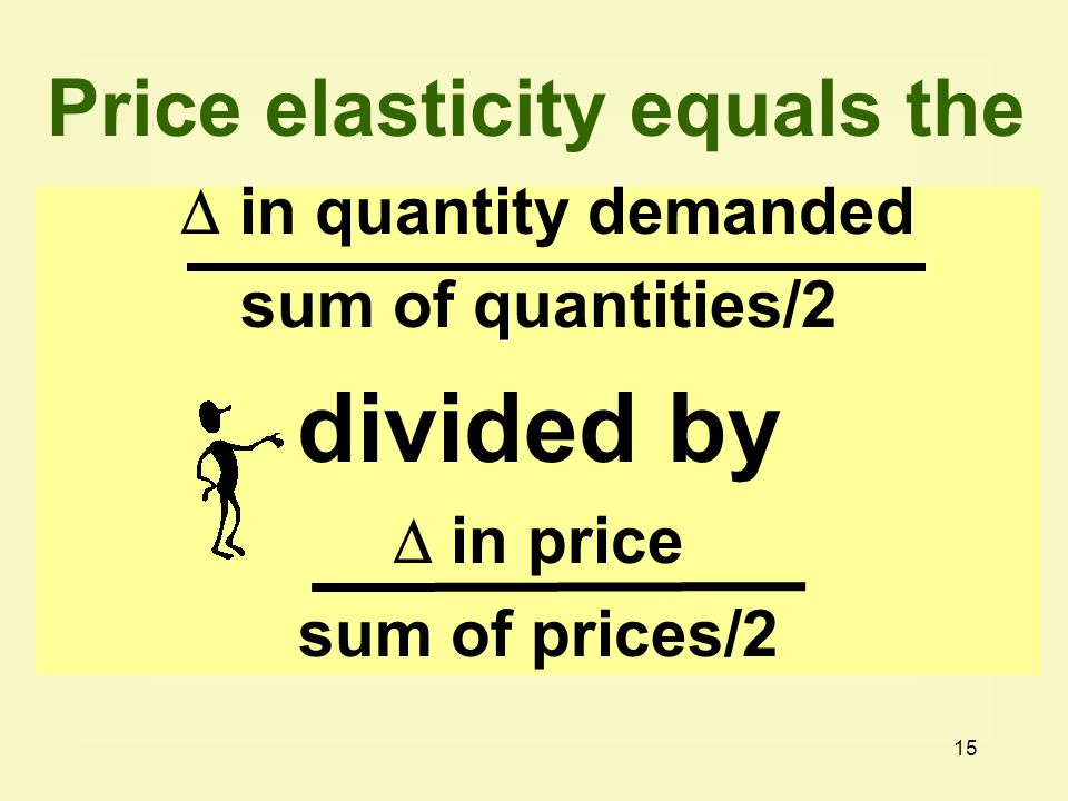 15  in quantity demanded sum of quantities/2 divided by  in price sum of prices/2 Price elasticity equals the