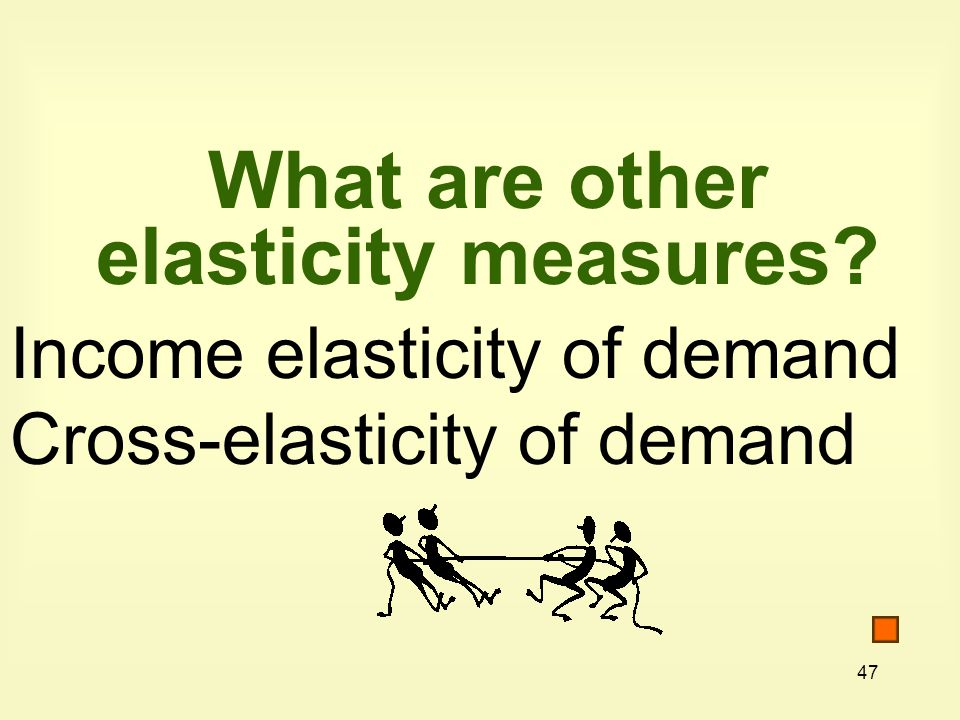 47 What are other elasticity measures? Income elasticity of demand Cross-elasticity of demand