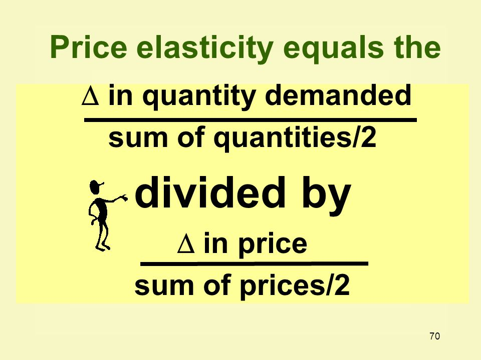 70  in quantity demanded sum of quantities/2 divided by  in price sum of prices/2 Price elasticity equals the