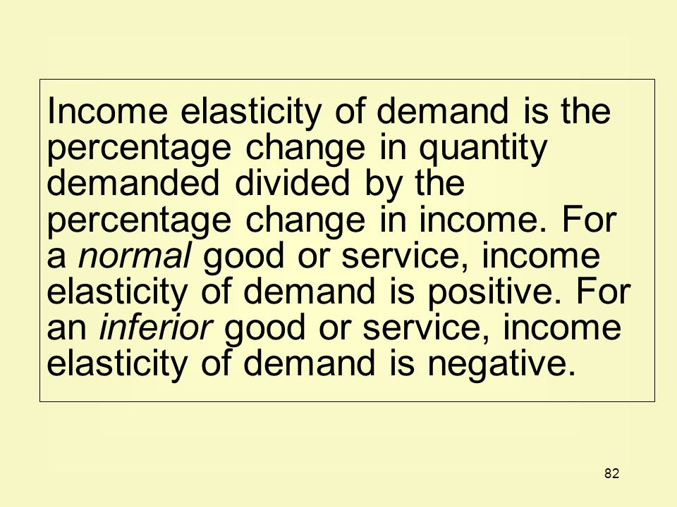 82 Income elasticity of demand is the percentage change in quantity demanded divided by the percentage change in income.