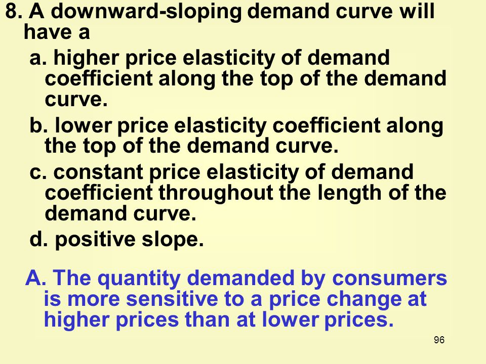 96 8.A downward-sloping demand curve will have a a.