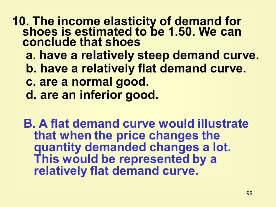 98 10.The income elasticity of demand for shoes is estimated to be 1.50.