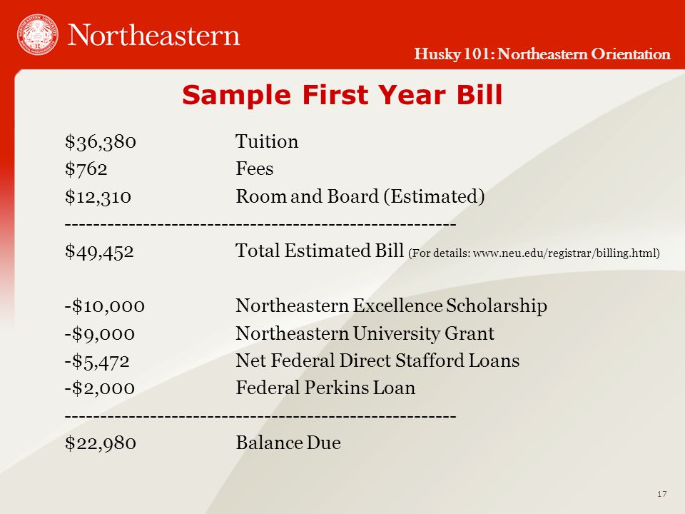 Husky 101: Northeastern Orientation Sample First Year Bill $36,380Tuition $762Fees $12,310Room and Board (Estimated) ------------------------------------------------------- $49,452Total Estimated Bill (For details: www.neu.edu/registrar/billing.html) -$10,000Northeastern Excellence Scholarship -$9,000Northeastern University Grant -$5,472Net Federal Direct Stafford Loans -$2,000Federal Perkins Loan ------------------------------------------------------- $22,980Balance Due 17