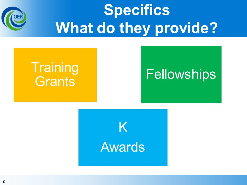 88 Specifics What do they provide? Training Grants Fellowships K Awards