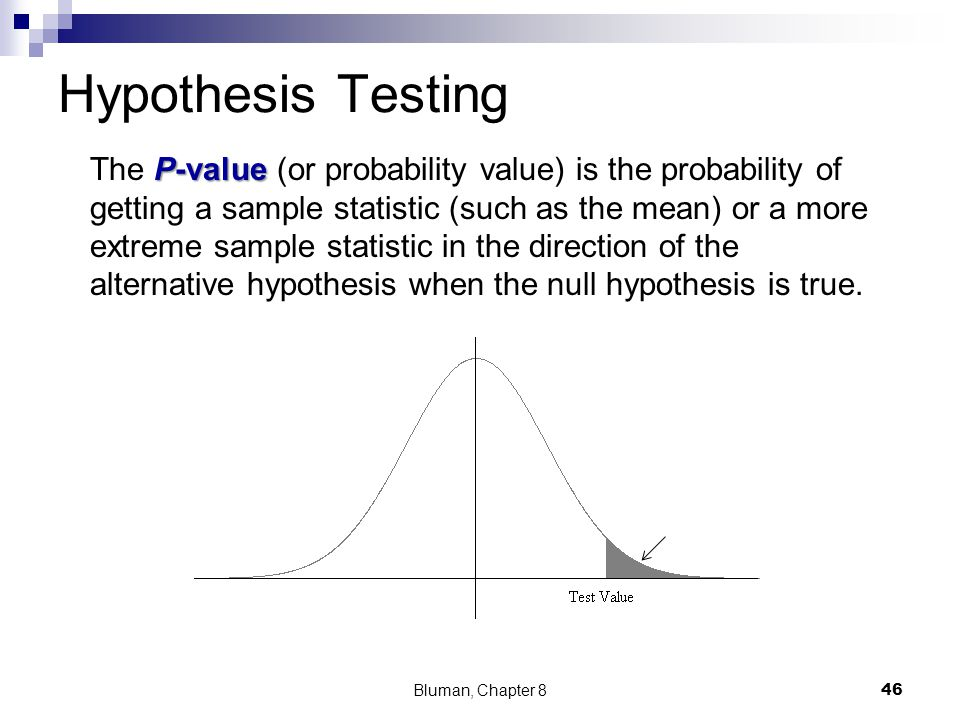 Hypothesis Testing P-value The P-value (or probability value) is the probability of getting a sample statistic (such as the mean) or a more extreme sa
