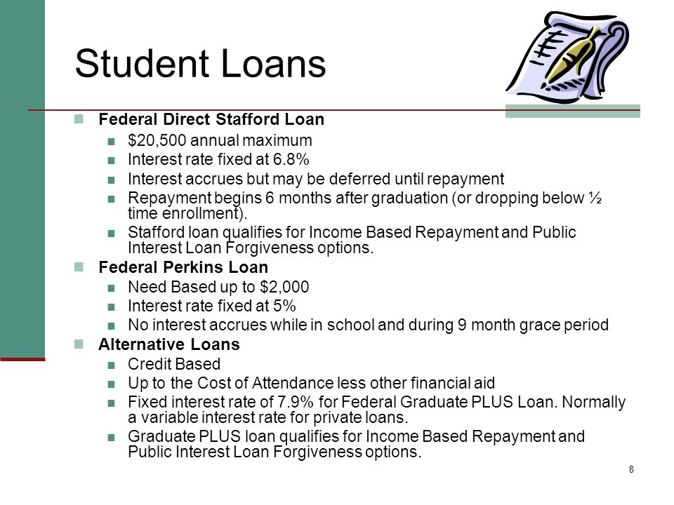 8 Student Loans Federal Direct Stafford Loan $20,500 annual maximum Interest rate fixed at 6.8% Interest accrues but may be deferred until repayment Repayment begins 6 months after graduation (or dropping below ½ time enrollment).