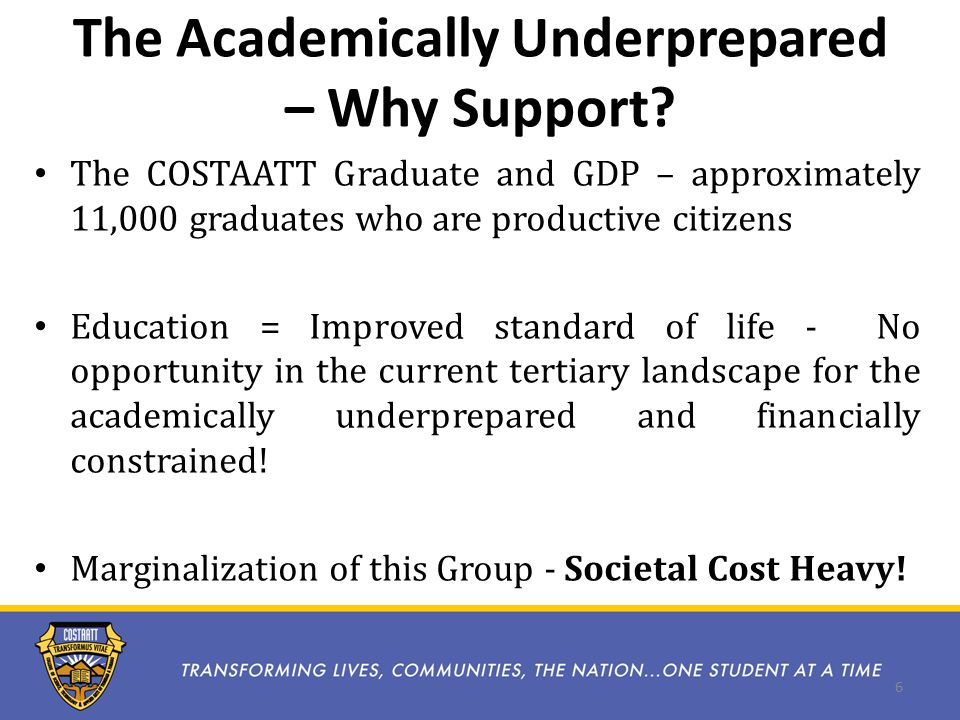 The Academically Underprepared – Why Support.