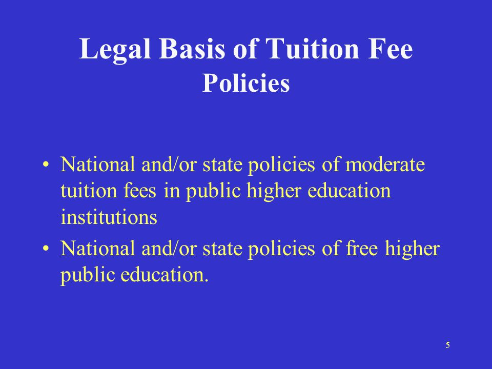 6 Tuition Fee Policy in Russia 1992 - Law on Education 1993 - Constitution of the Russian Federation 1994 – Governmental Decree 407 1996 – Russian Federation Law on Education 2000 – Development strategy оf Russian education