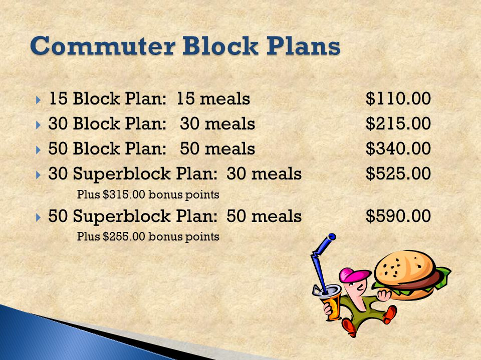 STUDENT MEAL PLANS New Freshmen Resident Students: Mandatory for first year - 19 Meal Plan (110 bonus points) ◦