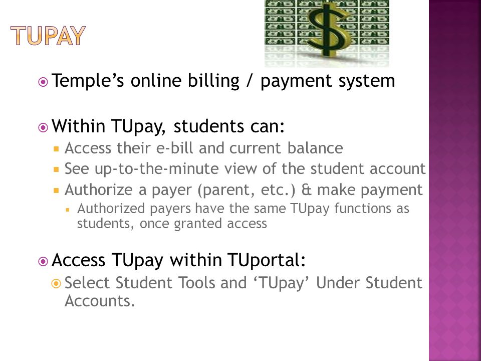  Pay the bill in full  Avoid payment plan fees and late payment fees  Temple Deferred Payment Plan (fall and spring)  Automatically enrolled if not paid in full by the bill due date  $25 payment plan fee if not paid in full after the first bill due date  $20 payment plan fee if not paid in full after the second bill due date  Temple Installment Payment Plan through HES – 10 monthly payments (5 in Fall and 5 in Spring) - $50 annual fee.