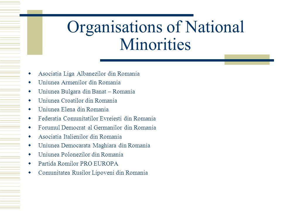 Organisations of National Minorities  Asociatia Liga Albanezilor din Romania  Uniunea Armenilor din Romania  Uniunea Bulgara din Banat – Romania  Uniunea Croatilor din Romania  Uniunea Elena din Romania  Federatia Comunitatilor Evreiesti din Romania  Forumul Democrat al Germanilor din Romania  Asociatia Italienilor din Romania  Uniunea Democarata Maghiara din Romania  Uniunea Polonezilor din Romania  Partida Romilor PRO EUROPA  Comunitatea Rusilor Lipoveni din Romania