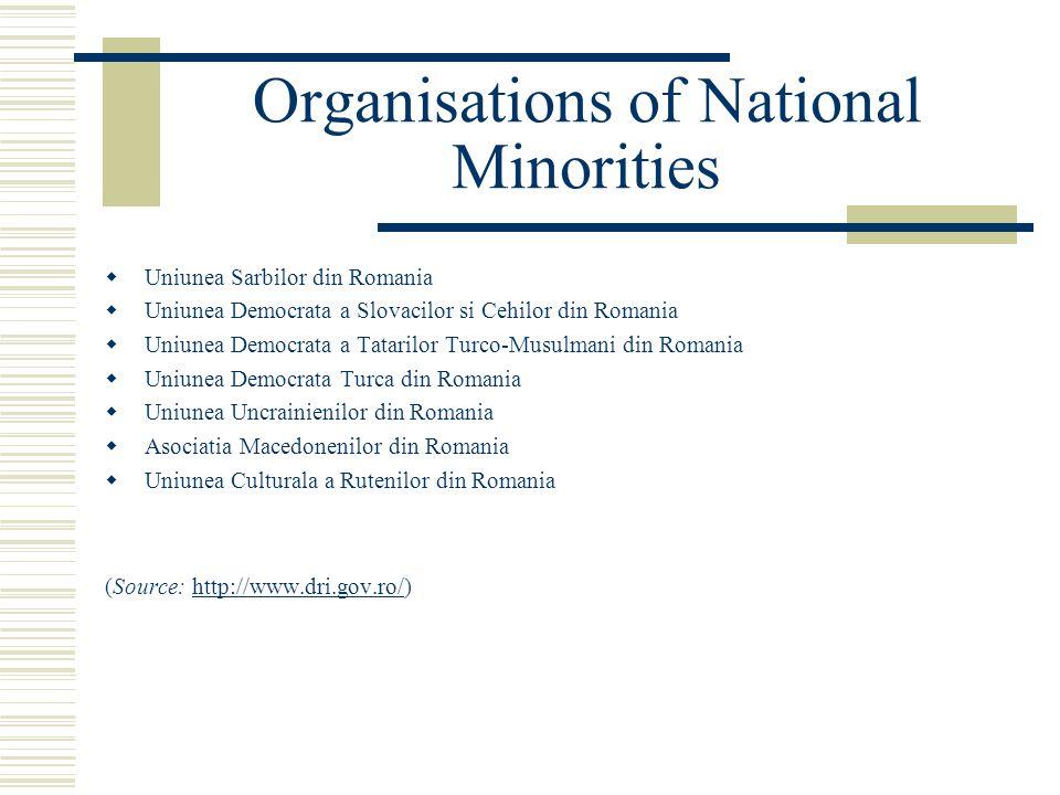 Organisations of National Minorities  Uniunea Sarbilor din Romania  Uniunea Democrata a Slovacilor si Cehilor din Romania  Uniunea Democrata a Tatarilor Turco-Musulmani din Romania  Uniunea Democrata Turca din Romania  Uniunea Uncrainienilor din Romania  Asociatia Macedonenilor din Romania  Uniunea Culturala a Rutenilor din Romania (Source: http://www.dri.gov.ro/)http://www.dri.gov.ro/