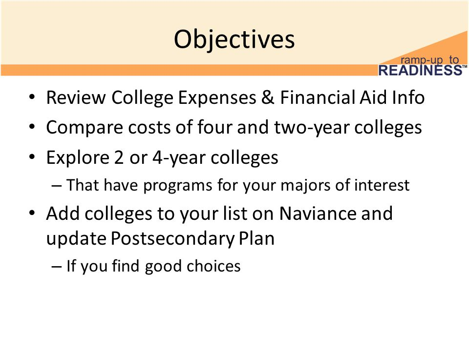 Objectives Review College Expenses & Financial Aid Info Compare costs of four and two-year colleges Explore 2 or 4-year colleges – That have programs