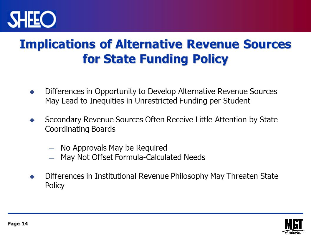 Page 14 Implications of Alternative Revenue Sources for State Funding Policy  Differences in Opportunity to Develop Alternative Revenue Sources May Lead to Inequities in Unrestricted Funding per Student  Secondary Revenue Sources Often Receive Little Attention by State Coordinating Boards — No Approvals May be Required — May Not Offset Formula-Calculated Needs  Differences in Institutional Revenue Philosophy May Threaten State Policy