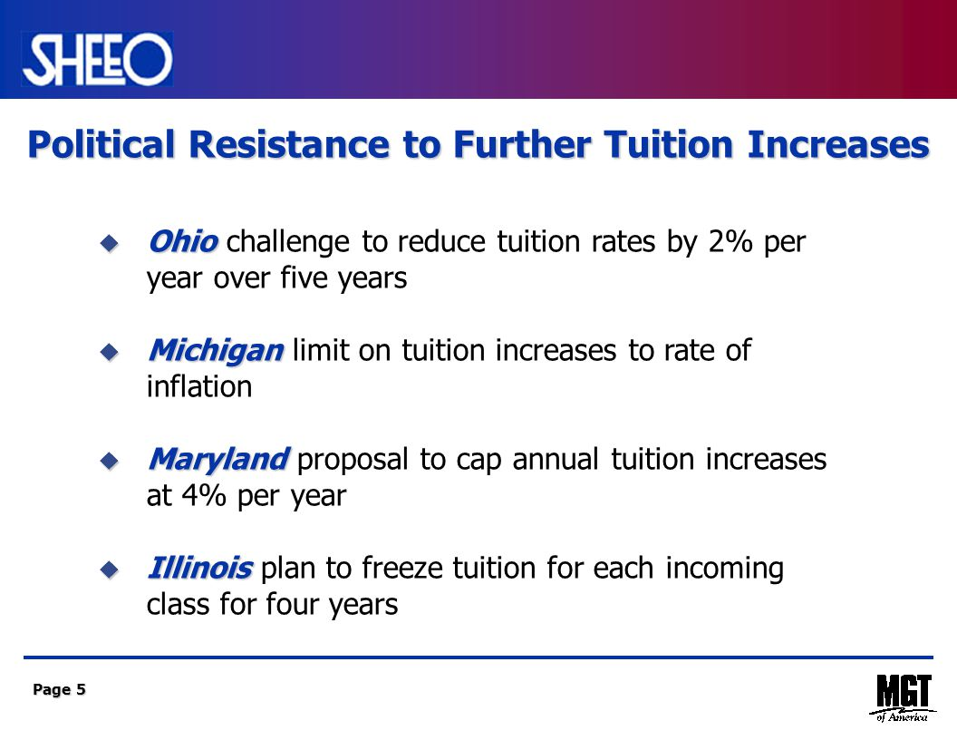 Page 5  Ohio  Ohio challenge to reduce tuition rates by 2% per year over five years  Michigan  Michigan limit on tuition increases to rate of inflation  Maryland  Maryland proposal to cap annual tuition increases at 4% per year  Illinois  Illinois plan to freeze tuition for each incoming class for four years Political Resistance to Further Tuition Increases