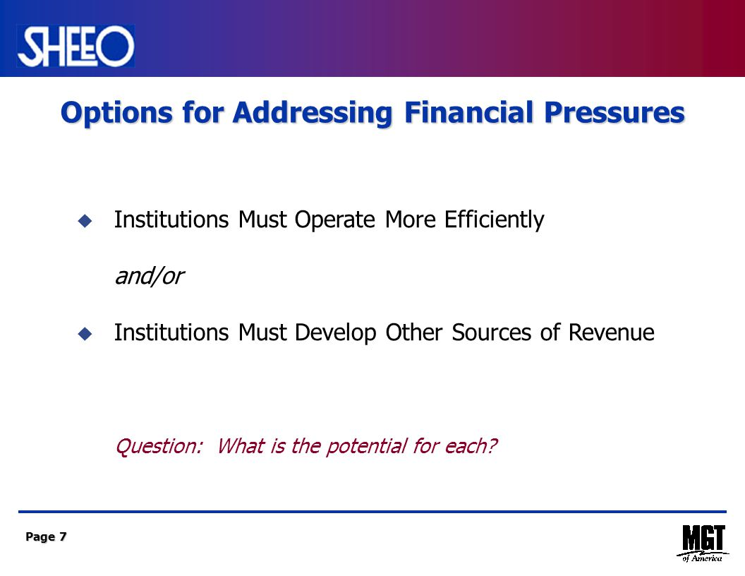 Page 7  Institutions Must Operate More Efficiently and/or  Institutions Must Develop Other Sources of Revenue Question: What is the potential for each.