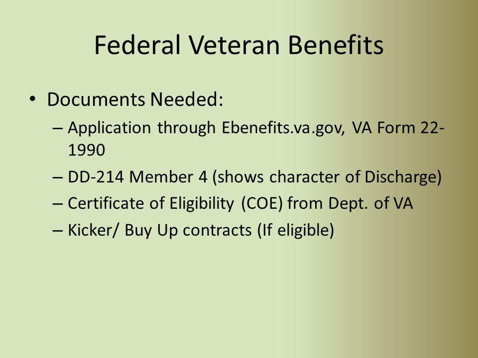 Chapter 33 – Transfer to Dependents Criteria… Has at least six years of service in the armed forces (active duty and/or Selected Reserve) on the date of approval and agrees to serve four additional years in the armed forces from the date of election.